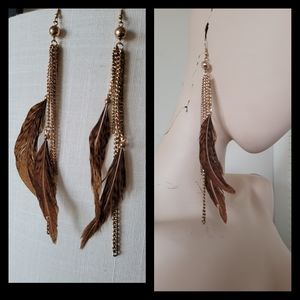 ALDO Feather Gold Brown Earings Jewerly